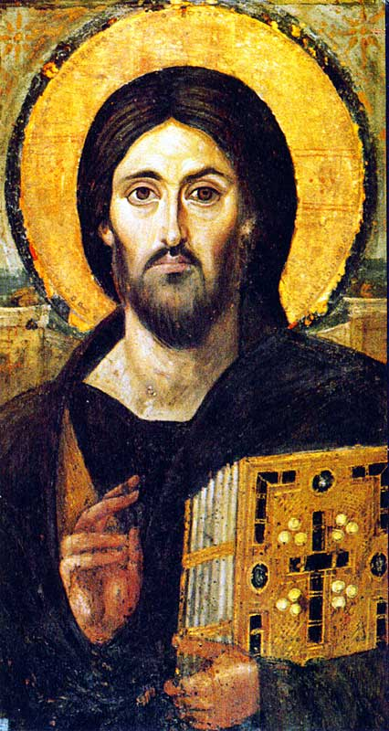 Icon: Christ Pantocrator (6th cent.) St Catherine's, Sinai, (founded 527). High res jpeg, 1600x851. 267kb.