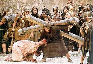 They seized one Simon of Cyre'ne ... and laid on him the cross, to carry it behind Jesus. (800x552. 173kb.)